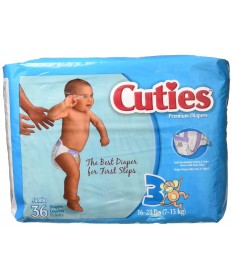 Cutie Diapers (16-28lbs)   Size 3 4/36ct