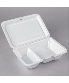 "2 Compartment Foam Container 9"" Case of 200"