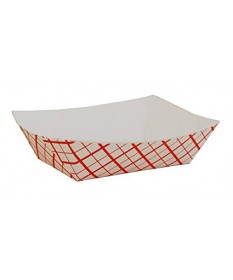 #50 Food Tray  Red Plaid 1/2lb   Case of 1000