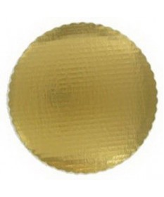 """10"""" Scalloped Gold Circles Cake Tray Case of 200"""